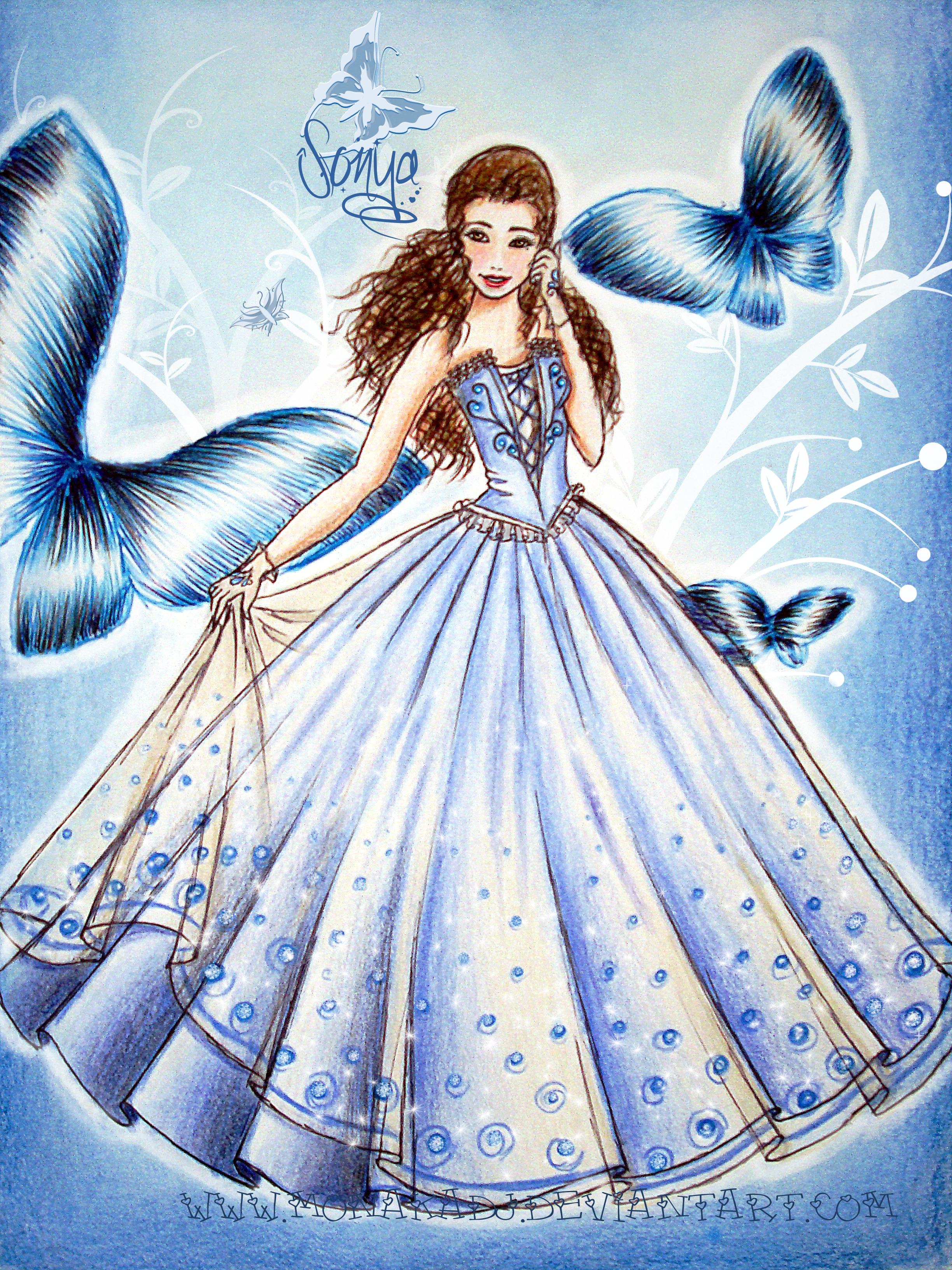 Drawn princess dress Design DeviantArt butterfly dress butterfly