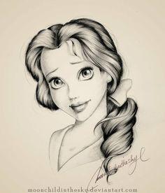 Drawn princess face Disney Princess of Beautiful drawing