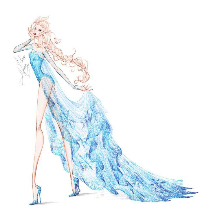 Drawn princess fashion illustration Winter Disney Pinterest on frozen
