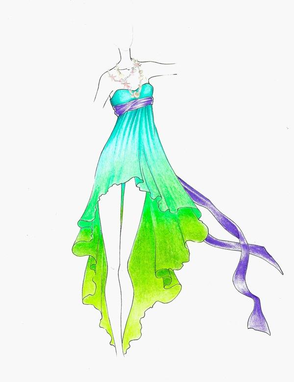 Drawn princess fashion illustration Ariel princess ariel  by