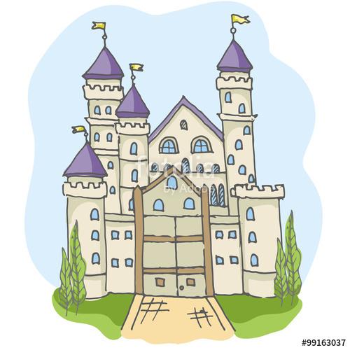 Drawn princess had kingdom  castle fairy icons fairytale