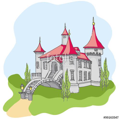 Drawn princess had kingdom Fairy cartoon castle  princess