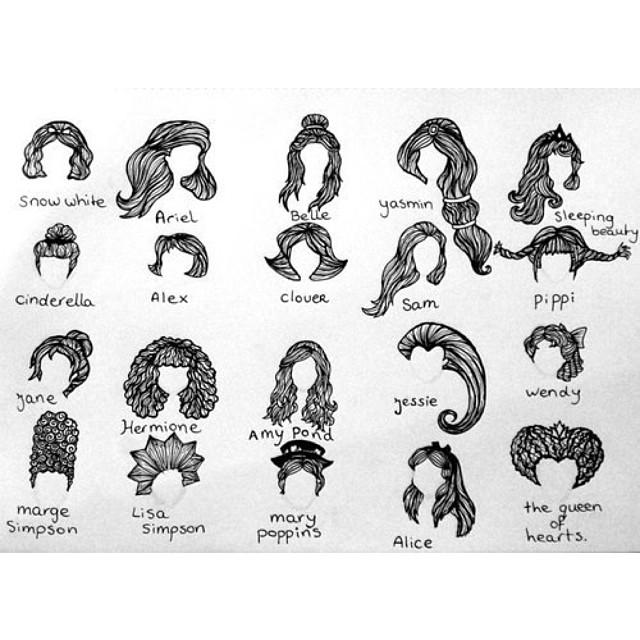Drawn princess hair #styles! Famous #blackandwhite #disney #illustration