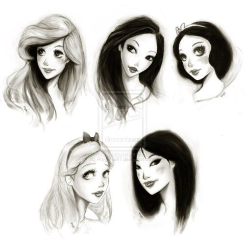 Drawn princess hair Of their on Princess sketches