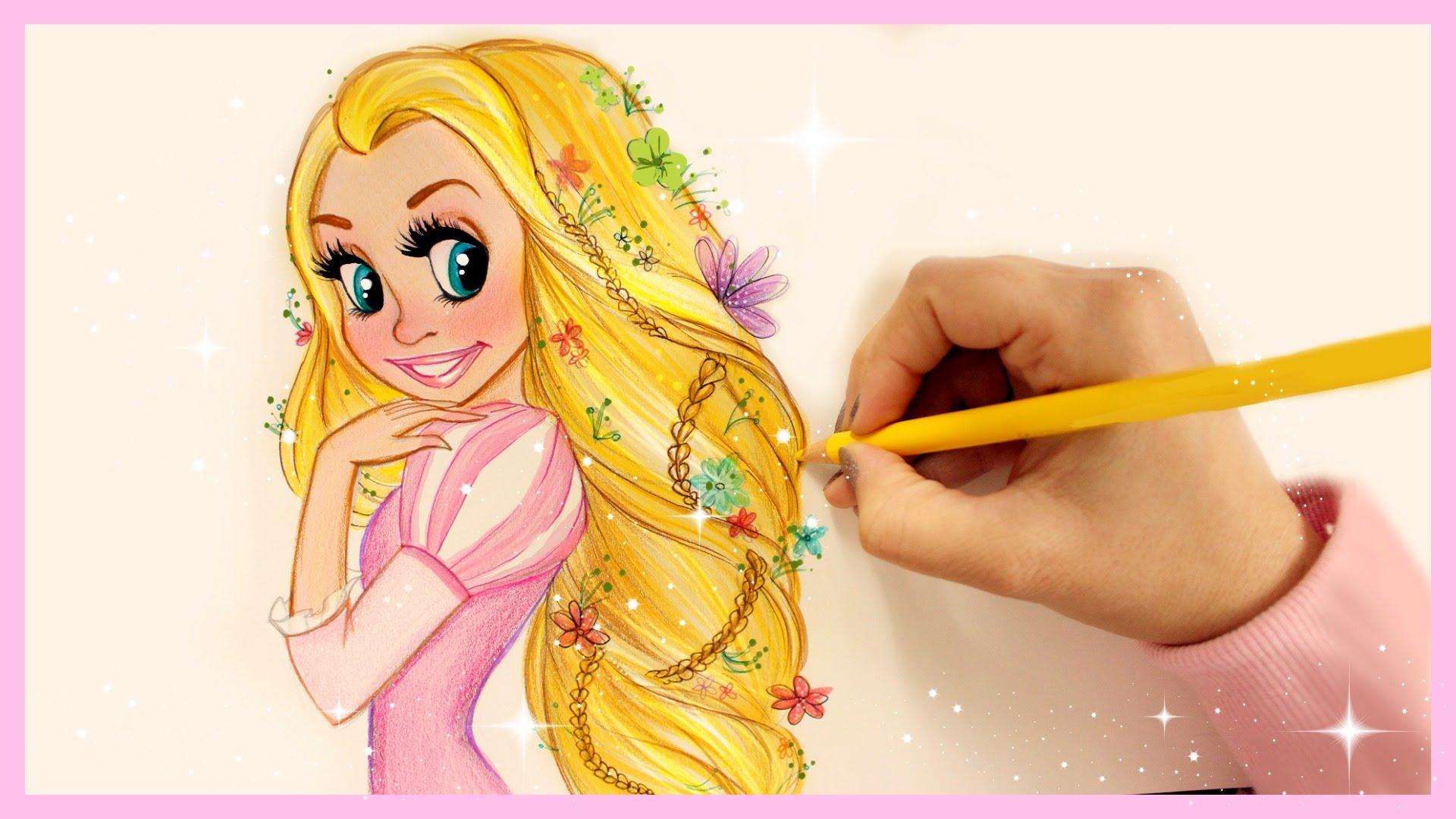 Drawn princess hairstyle disney YouTube Rapunzel ❤ How