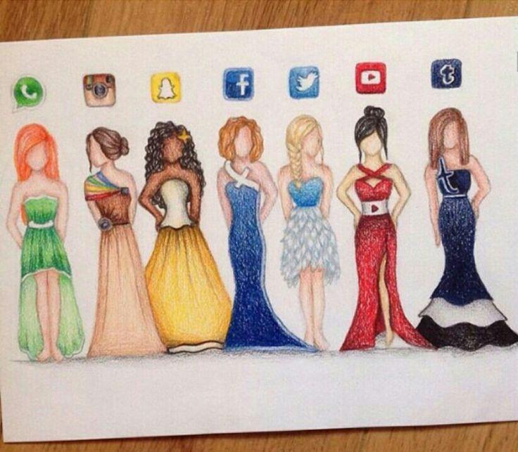 Drawn princess instagram Pinterest Whatsapp Snapchat Drawings dress