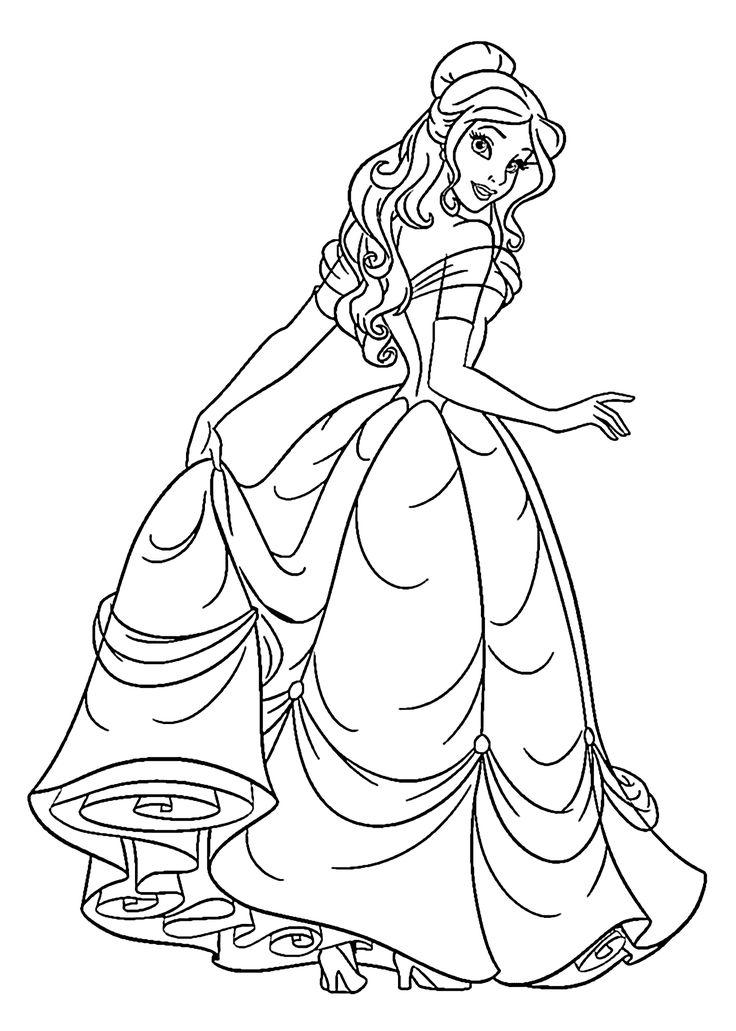 Drawn princess kid coloring page Beauty kids coloring free princess