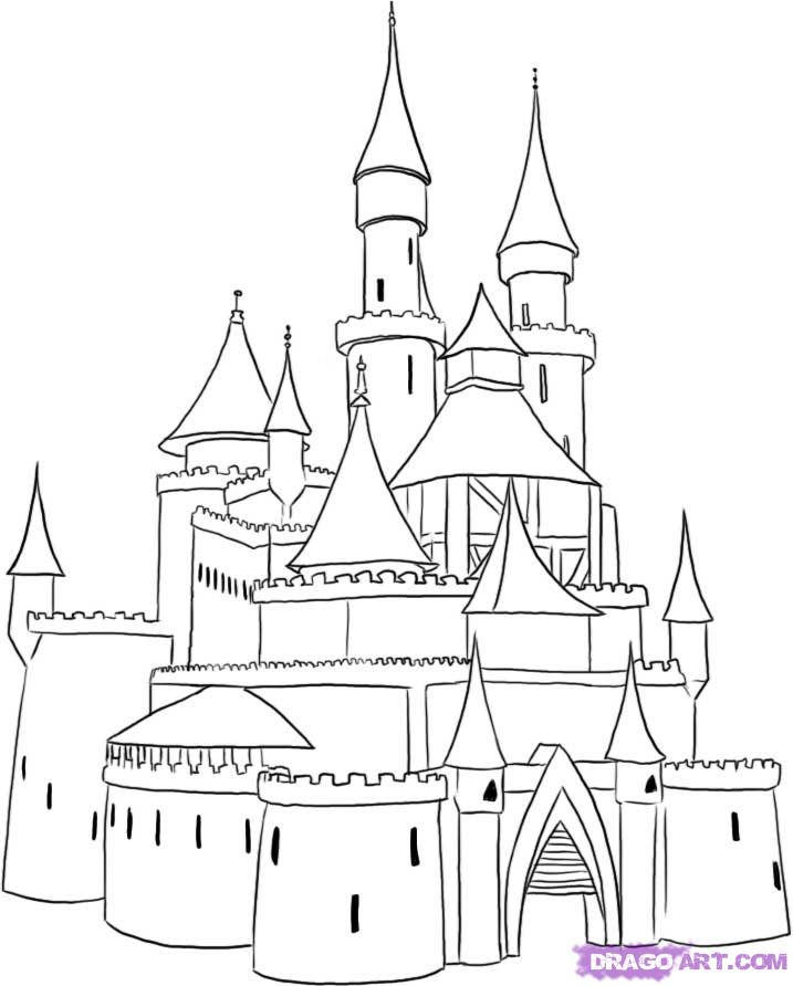 Drawn princess line drawing Step how a  Castle