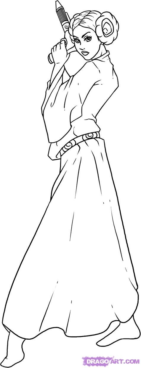 Drawn princess line drawing 25+ draw leia Best how