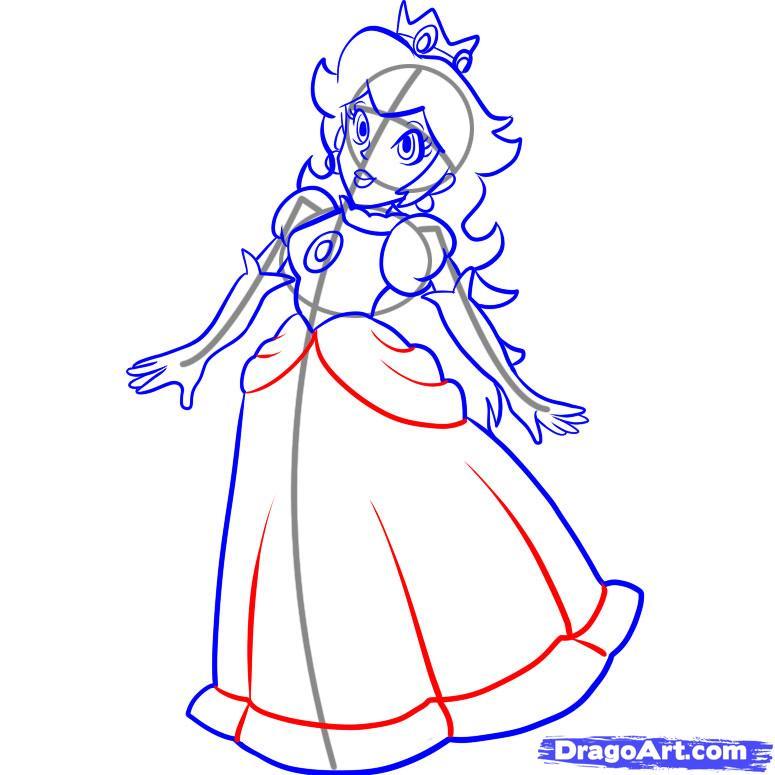 Drawn princess princess peach How draw Step by Step