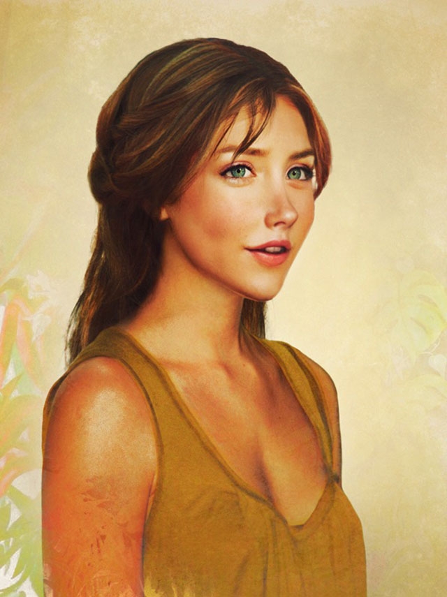 Drawn princess realistic An in Ariel she real