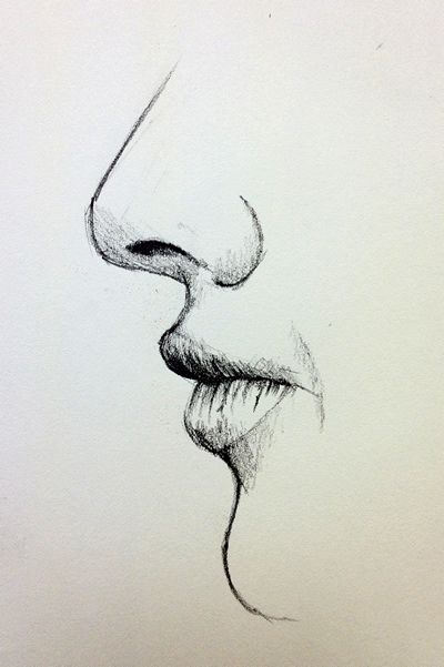 Drawn profile simple Drawing mouth on best closed