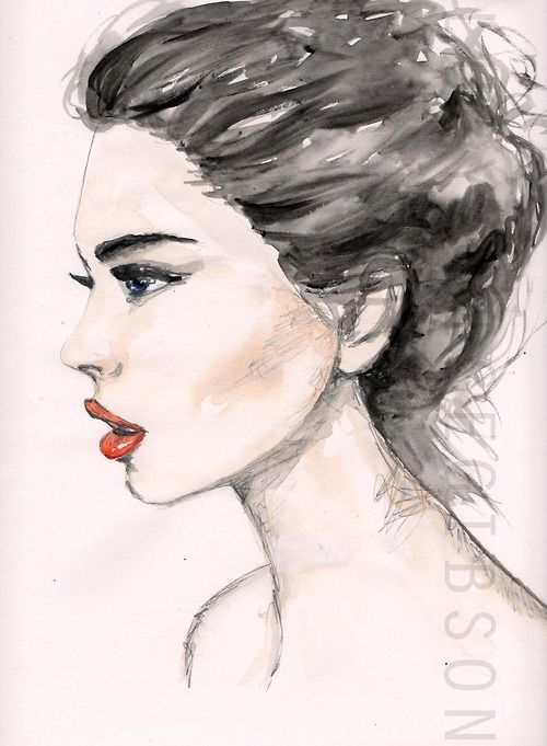 Drawn portrait side Pencil side Water #fashionillustration Lucy