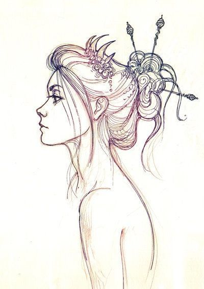 Drawn fairy side view Beautiful to i Side sketch