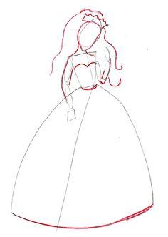 Drawn princess simple Dress a dress learn draw