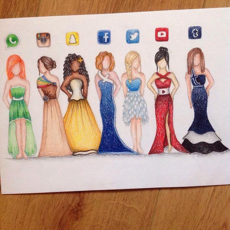 Drawn princess social media Pinterest girl drawing♡ loves media