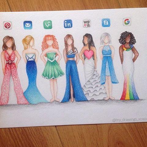 Drawn princess social media @my_drawings_xoxox Dresses by: out 2