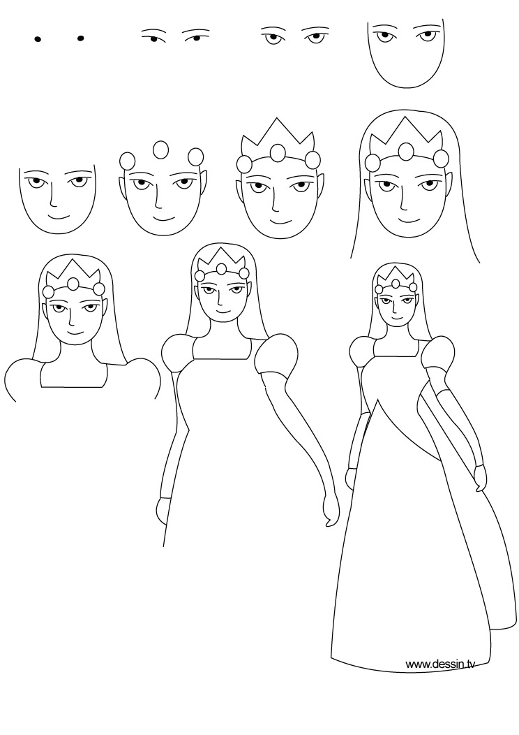 Drawn princess step by step Princess Drawing princess Step Princess