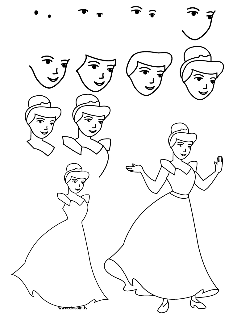 Drawn princess step by step Download Vector step instructions learn