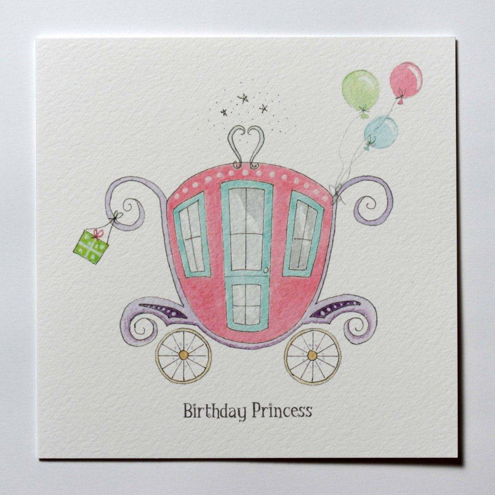 Drawn princess themed Hand Card Carriage Drawn Birthday