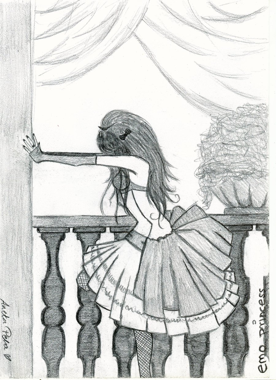 Drawn princess themed Drawings emo by emo drawings