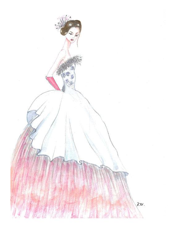 Drawn princess watercolor Hand illustration room princess girls