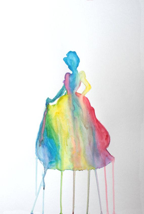 Drawn princess watercolor  LisforLuckyCreations Silhouettes Watercolor Rainbow