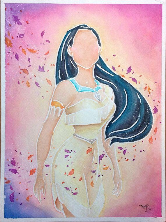 Drawn princess watercolor Walt 9x12in Watercolor  Painting