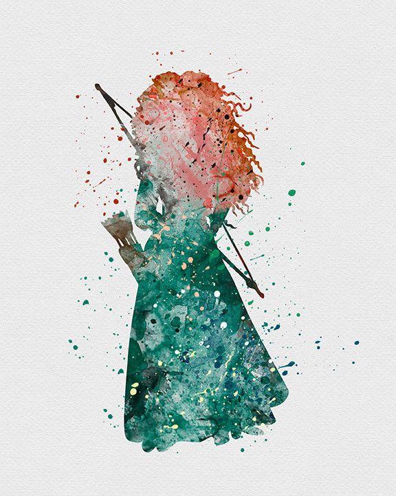Drawn princess watercolor Print Pinterest Brave on ideas