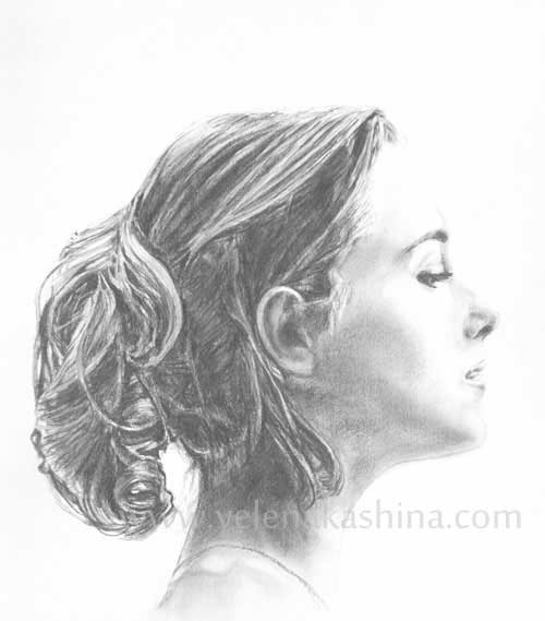 Drawn profile Yelena graphites water with with