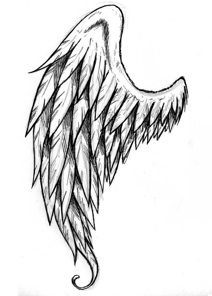 Drawn profile angel side To Pinterest wings draw Pin