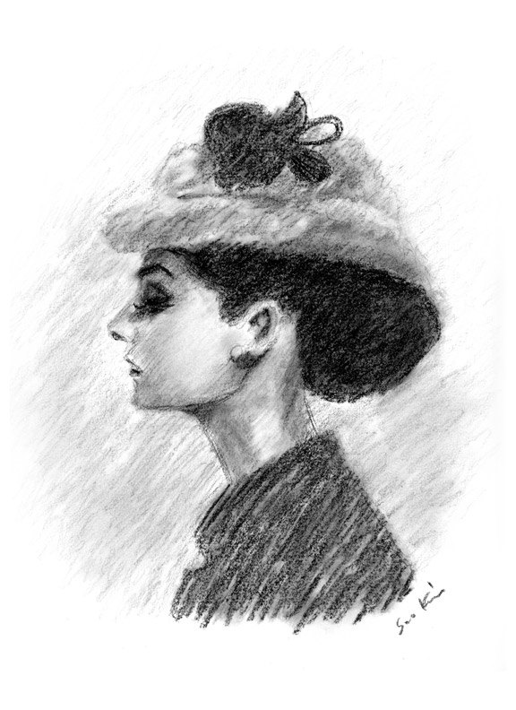 Drawn profile audrey hepburn Charcoal  White Drawing and
