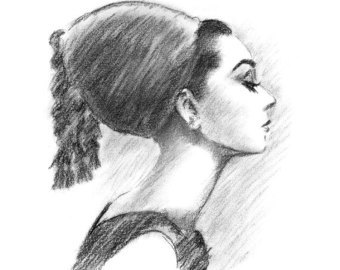 Drawn profile audrey hepburn Drawing Audrey Charcoal Print Charcoal