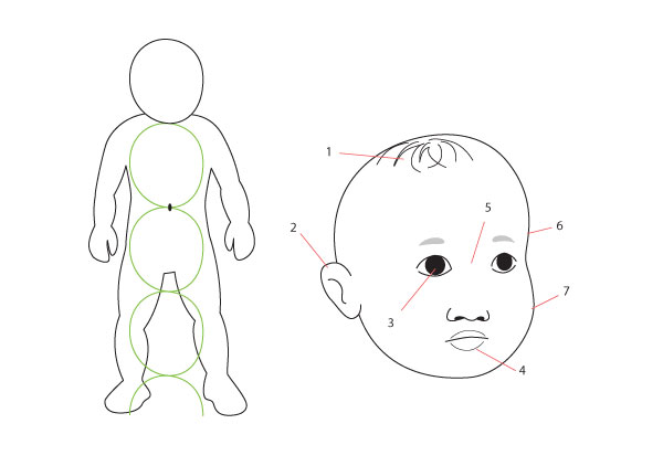 Drawn profile baby face Different face Baby Fundamentals: and