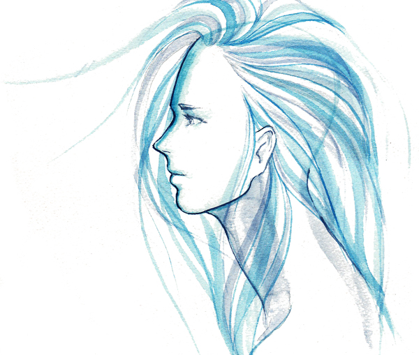 Drawn profile blue Blue inspired a by photo
