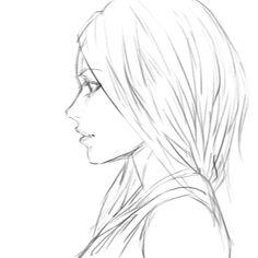 Drawn profile cartoon side Anime … View Anime Girl