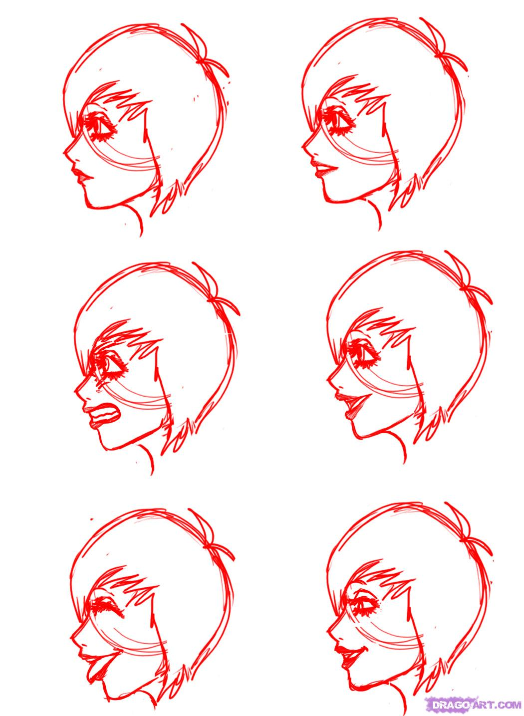 Drawn profile cartoon side Mouths How faces Mouths Profile