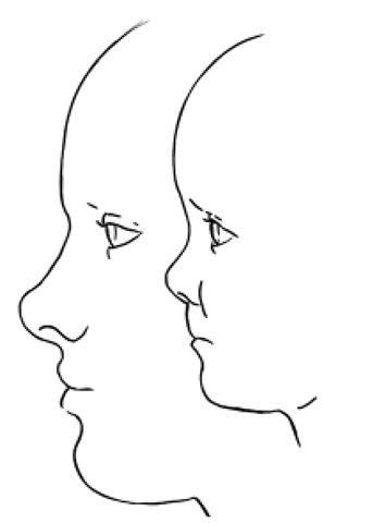 Drawn profile child face Bust) a Sculpting Adult a