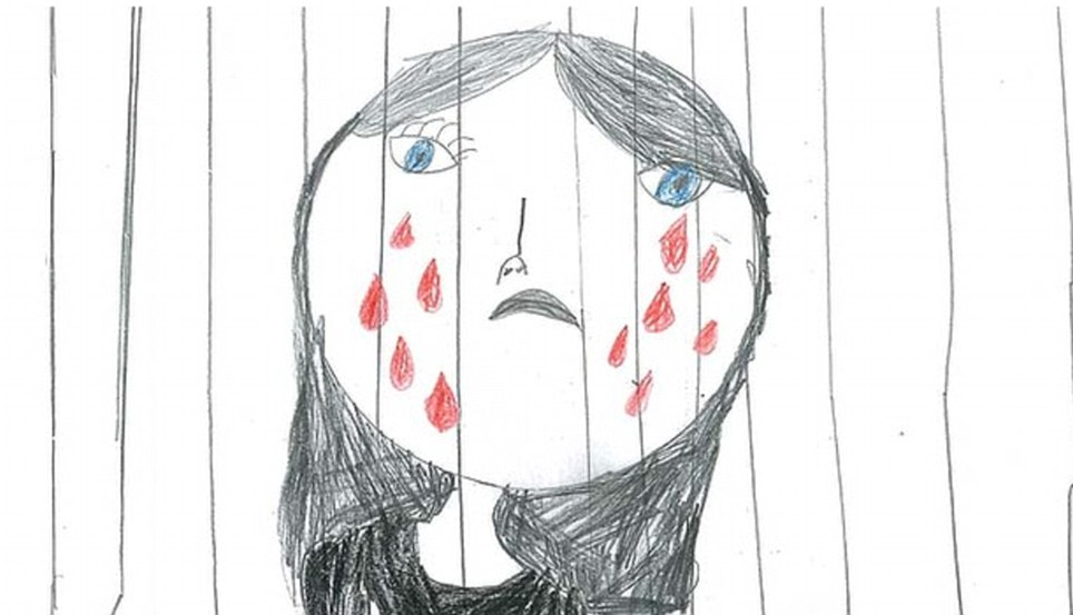 Drawn profile child face Detention Australian blood drawings in