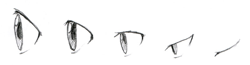 Drawn profile closed eye Up Eyes touches the does