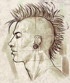 Drawn profile draw For Intermediate Study a DrawingFace