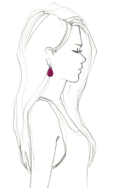 Drawn profile earring Gold by Woman drawing Rubellite