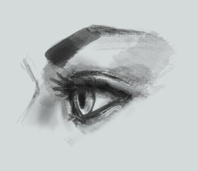 Drawn profile eye Art lesson view online side