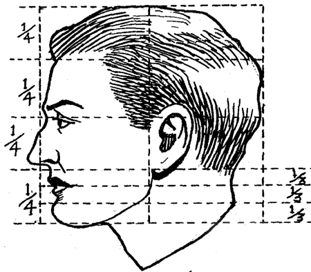 Drawn profile face proportion Cartoon Faces Grids with
