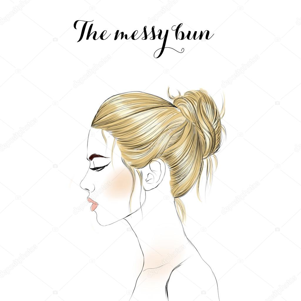 Drawn profile fashion illustration Raster girl Photo  drawn