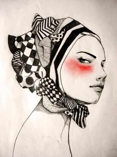 Drawn profile fashion illustration B+w Boazinhas Gorotas portrait read