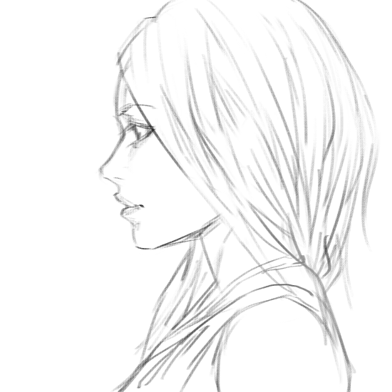 Drawn profile female face Female Hair art <3 sketch