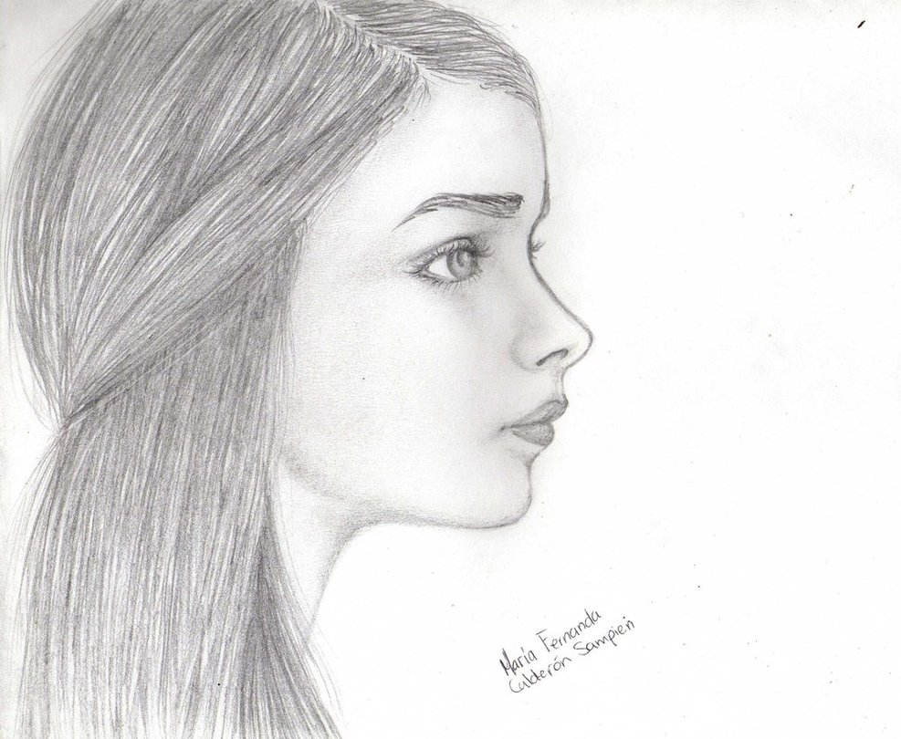 Drawn profile female face View Car Woman drawing Face