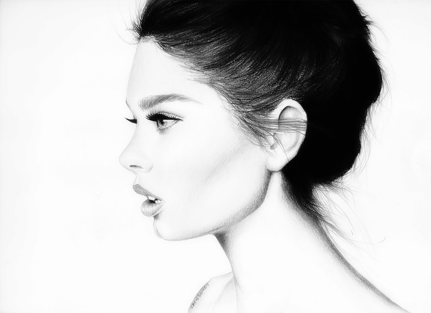 Drawn profile female face Realistic (side (side Drawing Face