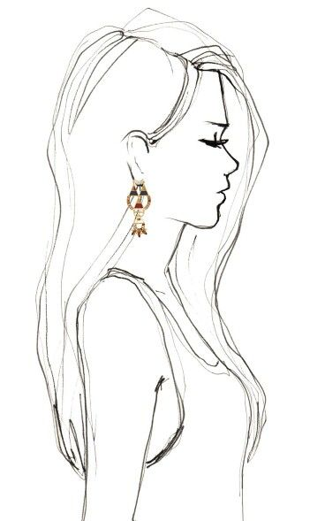 Drawn profile female face Side Best on Side ideas
